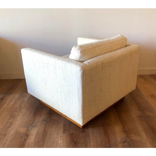Scandinavian Vintage Modern Box / Club Chair With Boucle Upholstery and Walnut Base For Sale - Image 9 of 12