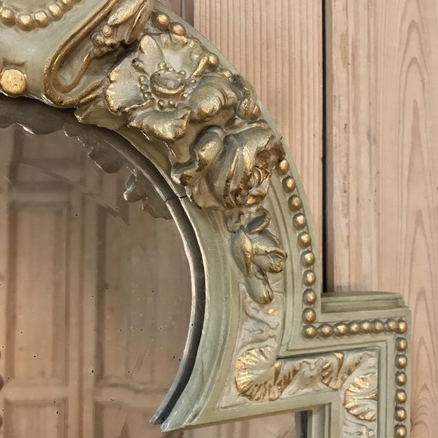 19th Century Italian Louis XVI Painted & Gilded Mirror For Sale - Image 10 of 11