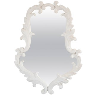 Hollywood Regency White Gessoed Carved Oak Wall Mirror For Sale