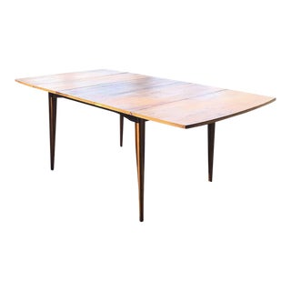 1960s Mid Century Modern Broyhill Walnut Drop Leaf Extending Dining Table For Sale