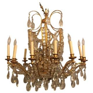 Fine Cut Crystal and Gilt Bronze Neoclassical Jansen Eighteen Light Chandelier For Sale