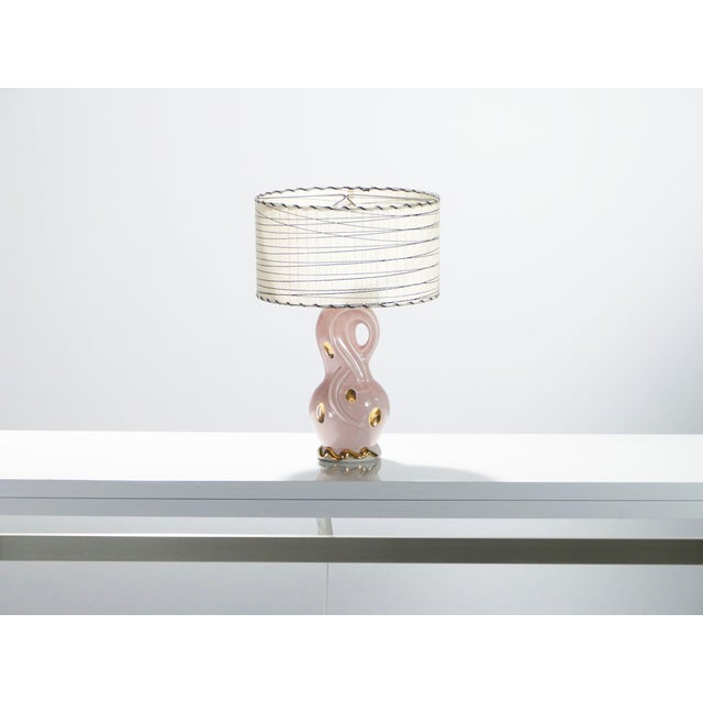 Midcentury Pair of French Pink Ceramic Lamps, 1960s For Sale - Image 4 of 11