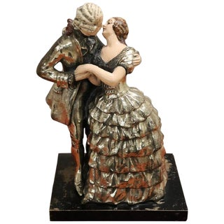20th Century Art Nouveau Sculpture in Silver Clay, Couple in Love For Sale