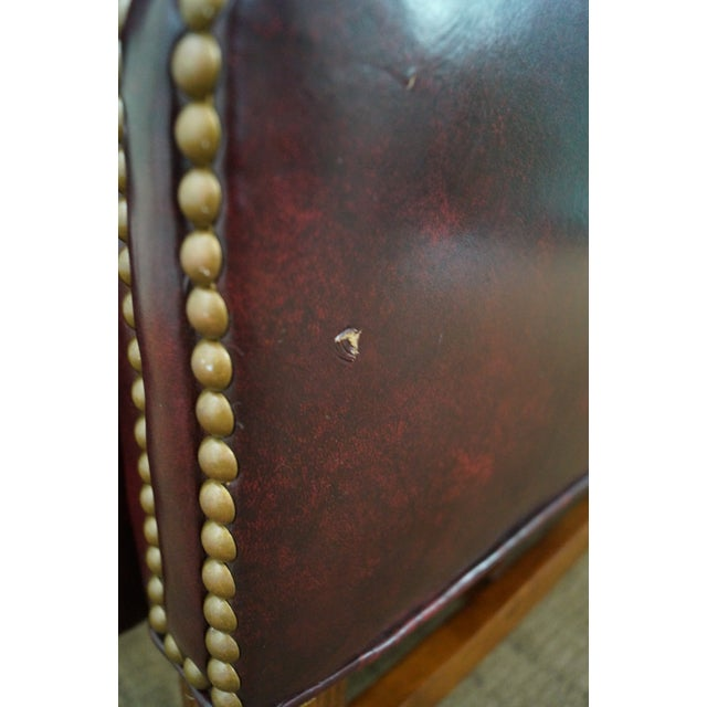Quality Oxblood Leather Chippendale Wing Chair - Image 7 of 10