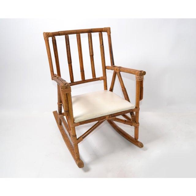 Mid-Century Modern Boho Style Bamboo & Vinyl Children Rocking Chair For Sale - Image 12 of 13