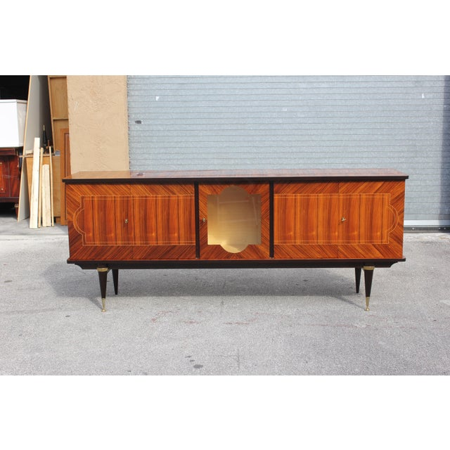 Gold 1940s Art Deco Light Macassar Ebony Sideboard / Buffet For Sale - Image 8 of 13