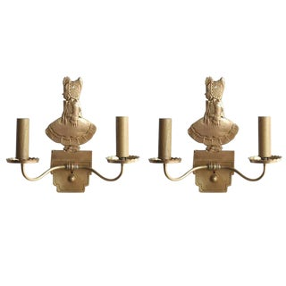 Bronze Electric Candelabra Wall Sconce W/ Girl in Bonnet, Pair For Sale