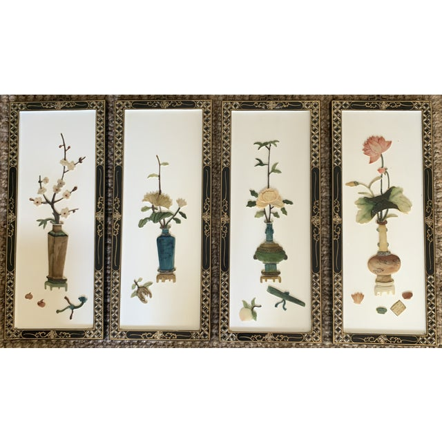 Early 20th Century Asian Wall Panels - Set of 4 For Sale - Image 13 of 13
