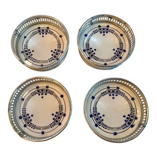 20th Century Danish Modern Flo Blue Ceramic and Metal Coasters - Set of 4