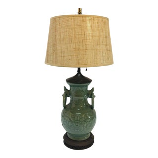 Vintage Asian Oriental Chinese Glazed Green Jade Vase Porcelain Lamp For Sale