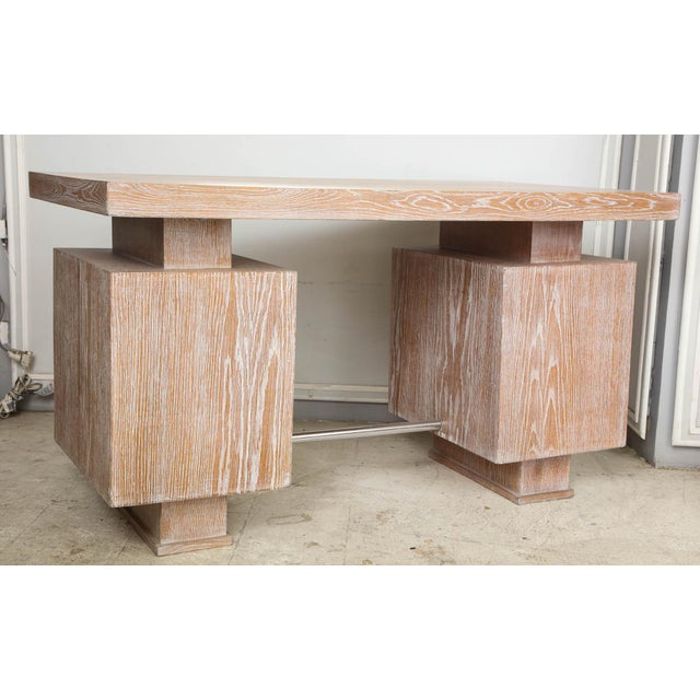 French French Cerused Oak Desk For Sale - Image 3 of 11
