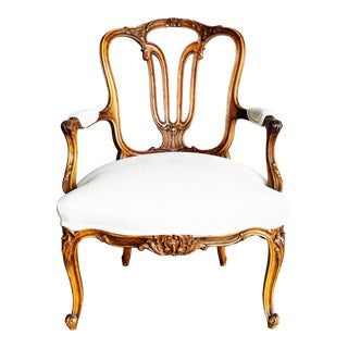 19th Century Hand Carved Walnut French Louis XV Style Armchair in Linen