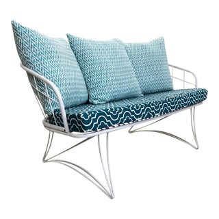 Restored Homecrest Mid-Century Modern Outdoor Patio Loveseat Sofa For Sale
