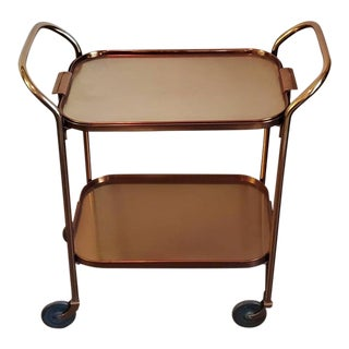 Mid-Century Modern Tray Top Rolling Bar Cart by Kaymet For Sale