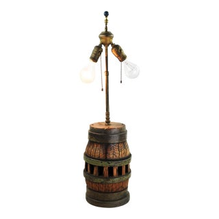 1970s Americana Wooden Barrel Two Light Table Lamp For Sale