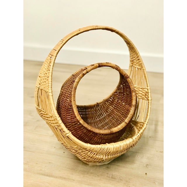 1960s Nesting Gondola Woven Wicker Rattan Baskets - a Pair For Sale - Image 5 of 12