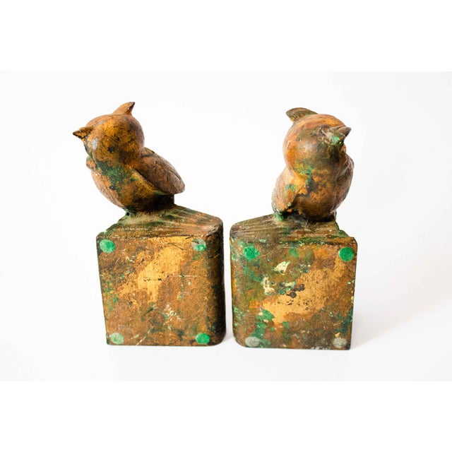 Cast-Metal Painted Owl Bookends - a Pair For Sale - Image 4 of 7