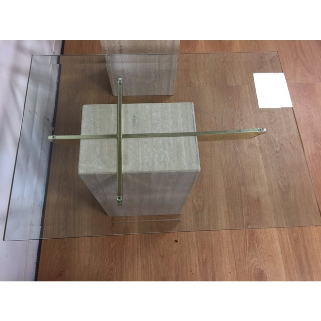 Travertine Brass and Glass End Tables - A Pair - Image 5 of 9