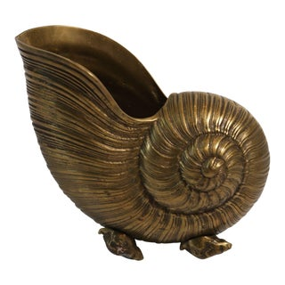 Vintage Fritz Brass Shell Planter For Sale