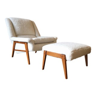 Danish Modern Sherpa Lounge Chair and Ottoman For Sale