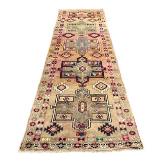 Antique Tribal Handknotted Hallway Runner Rug - 3′3″ × 11′5″ For Sale