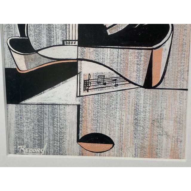 Mid-Century Modern Cubist Pastels Painting of Guitar For Sale - Image 10 of 13