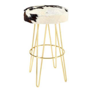 Brass Tri-Color Cloud Hairpin Swivel Barstool For Sale