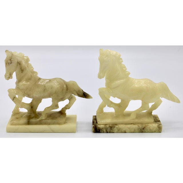 Mid-20th Century Italian Alabaster Mantle Horse Bookends - a Pair For Sale - Image 13 of 13