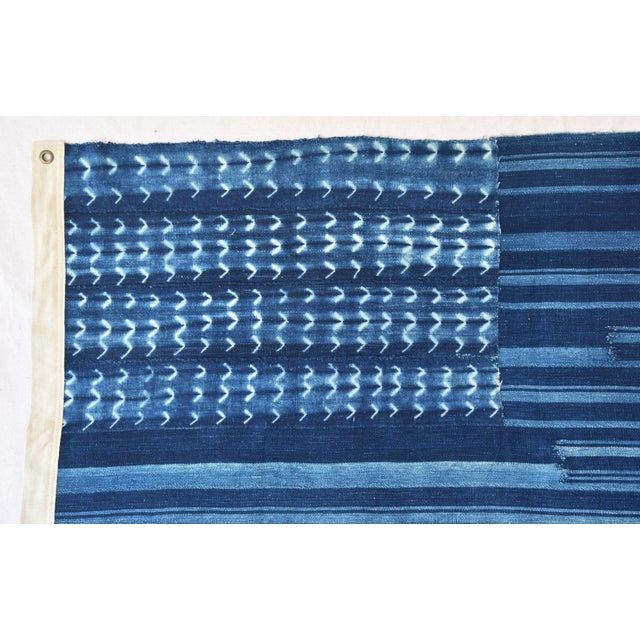 """58"""" X 34"""" Custom Tailored Blue & White Flag From African Textiles - Image 4 of 8"""