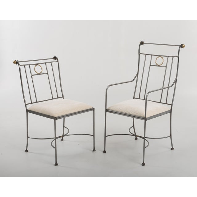 1970s 1970s Italian Mid-Century Steel Brass Dining Chairs - Set of 8 For Sale - Image 5 of 13