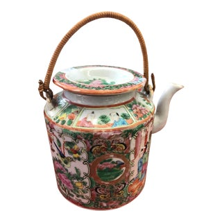 Late 19th Century Rose Medallion Chinese Export Teapot For Sale