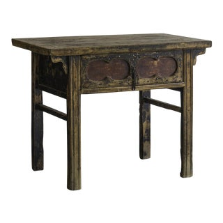 Antique Chinese Table, Long Drawer, Kaung Hsu Period circa 1875 For Sale