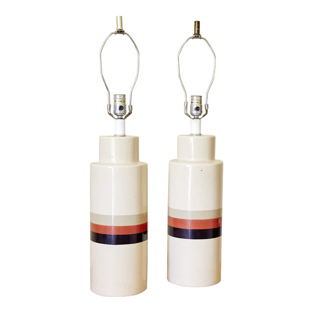 Mid-Century Modern Philmar/Sandel Ceramic Table Lamps - A Pair For Sale