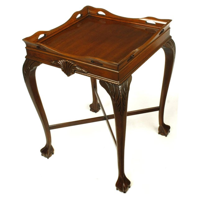 Pair of Mahogany Ball and Claw Footed George II Style End Tables For Sale - Image 4 of 11