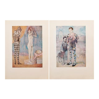 1950s Picasso, Original Period Blue Harlequin Lithographs - a Pair For Sale