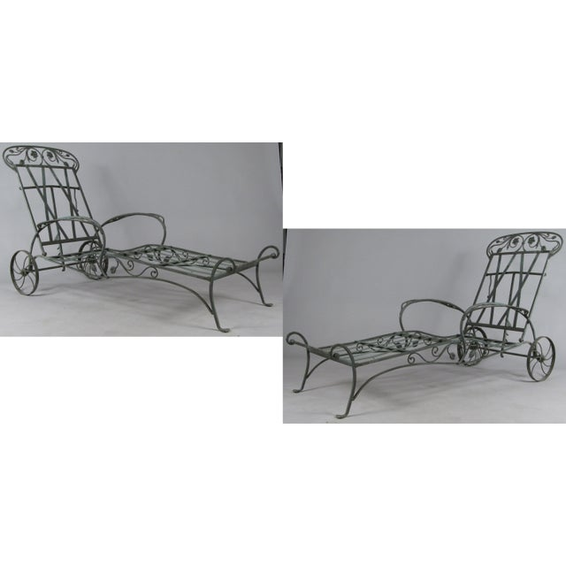 Wrought Iron Chaise Lounges by Salterini, Circa 1950 - a Pair For Sale - Image 9 of 9