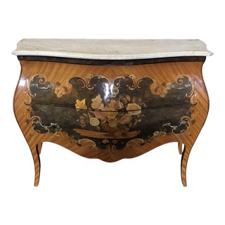 French Marble Topped Louis XVI Bombe Commode With Intricate Marquetry For Sale