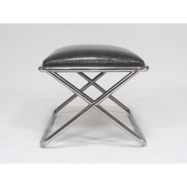 Superb Milo Baughman Chrome And Leather X Base Stool Beatyapartments Chair Design Images Beatyapartmentscom