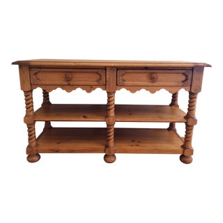 Broyhill Distressed Pine Console Table For Sale