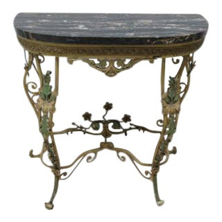 1900s Regency Marble Top Wrought Iron Filigree Demi Lune Table