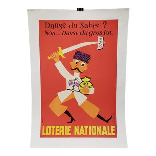 "French National Lottery ""Jackpot Dance"" Lithograph Poster C.1957 For Sale"