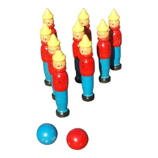 French Vintage Skittles Wooden 9 Piece Set For Sale