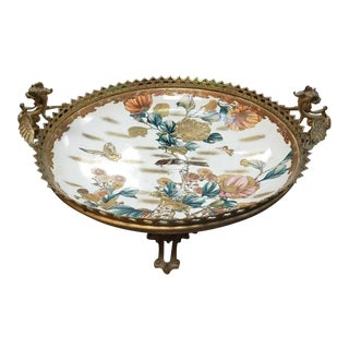 Mid 19th Century Japanese Satsuma Porcelain Centerpiece Bowl For Sale