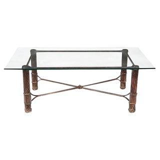 Handmade Iron & Glass Top Coffee Table For Sale