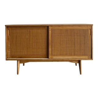1960s Compact Oak and Cane Sideboard For Sale