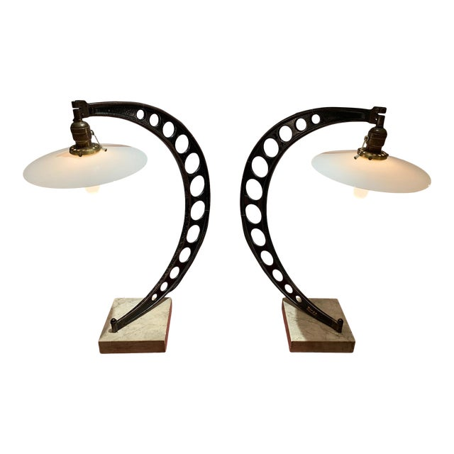 19th Century Crescent Shaped Micrometer Custom Lamps -A Pair For Sale