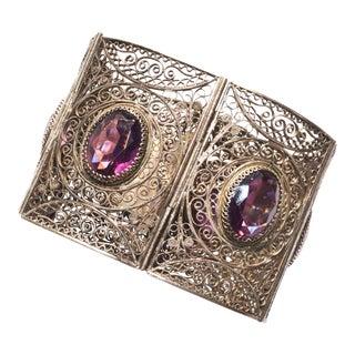 Edwardian Silver & Purple Gems Filigree Cuff For Sale