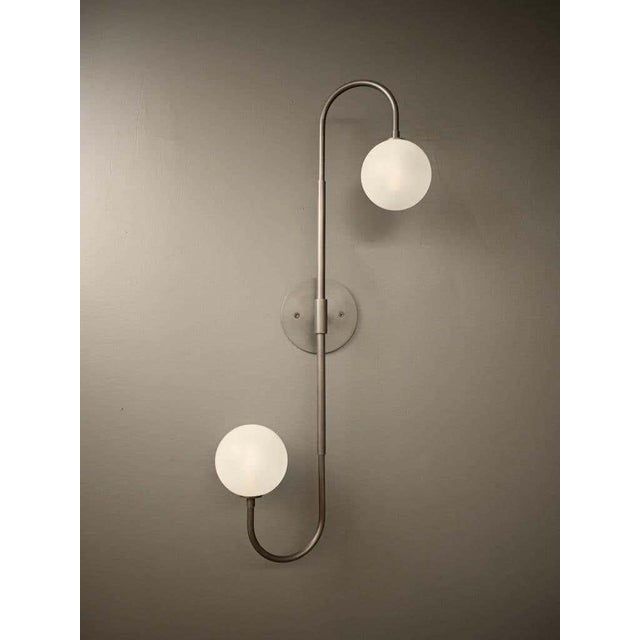 Mid-Century Modern Piega Wall Lamp or Flushmount in Oil-Rubbed Bronze & Glass by Blueprint Lighting For Sale - Image 3 of 8
