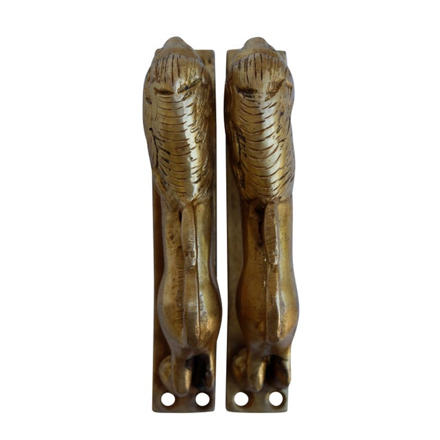 Hollywood Regency Brass Lion Door Handles - a Pair For Sale - Image 3 of 5
