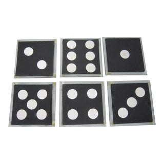 Vintage 1970s Dominos Glass Coasters - Set of 6 For Sale